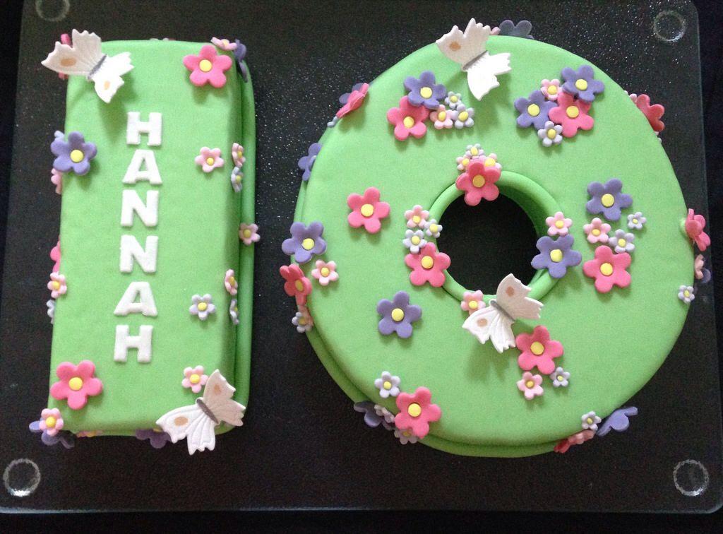 Astonishing Number 10 Birthday Cake With Flowers And Butterflies Birthday Funny Birthday Cards Online Ioscodamsfinfo