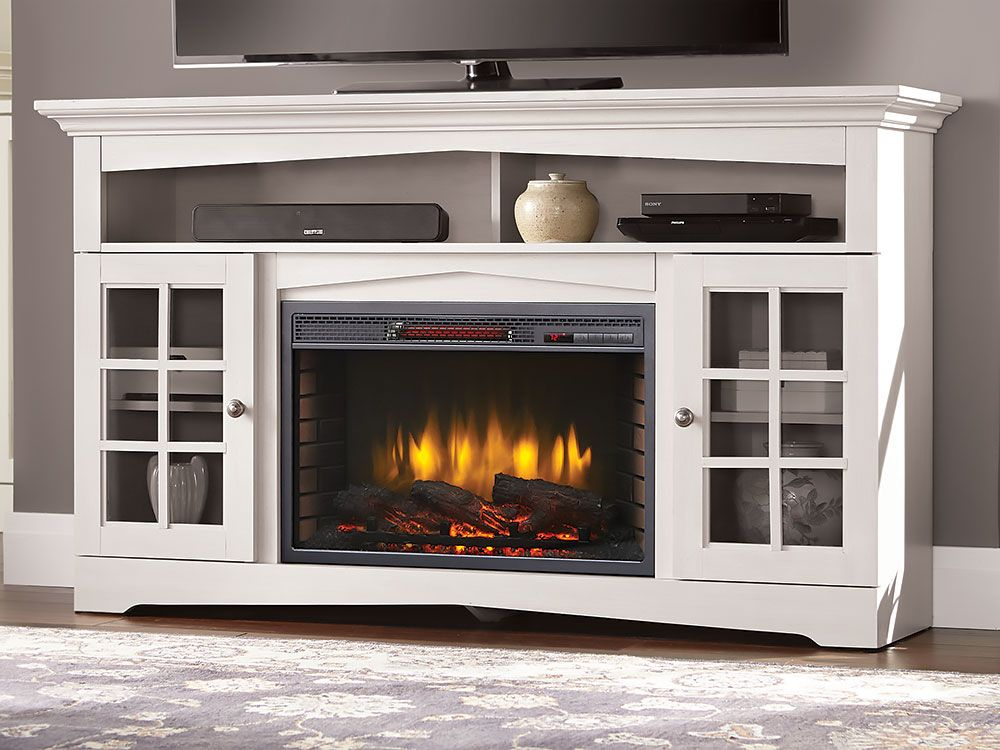 Huntley Electric Fireplace Tv Stand In White 370 196 204 Tv Console With Fireplace Electric Fireplace Tv Stand Fireplace Entertainment