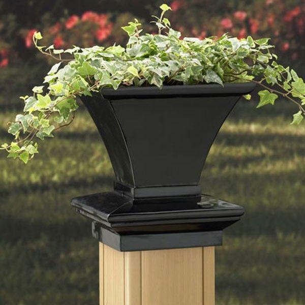 Black Square Planter 4X4 Post Caps From Deckorators Ambiente 400 x 300