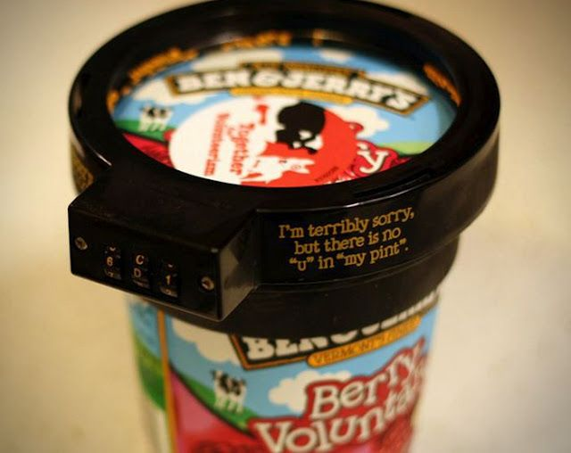 """Pint Ice Cream Lock  - I'm terribly sorry but there is no """"u"""" in """"my pint"""""""