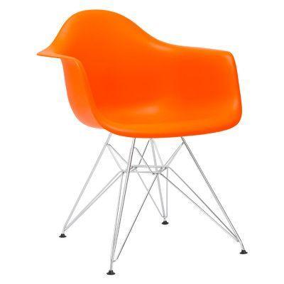 Edgemod Padget Arm Chair (Set of 2) Upholstery: Orange, Leg Finish: Chrome