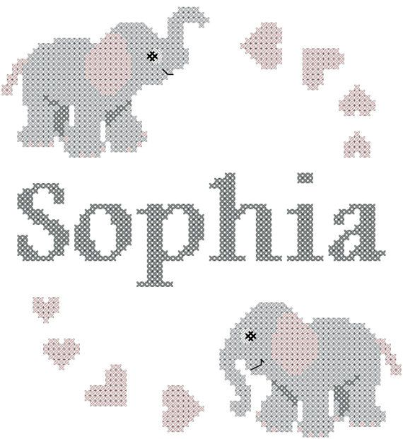 Cross Stitch Pattern: Baby Elephant with Name and Hearts Quick and ...