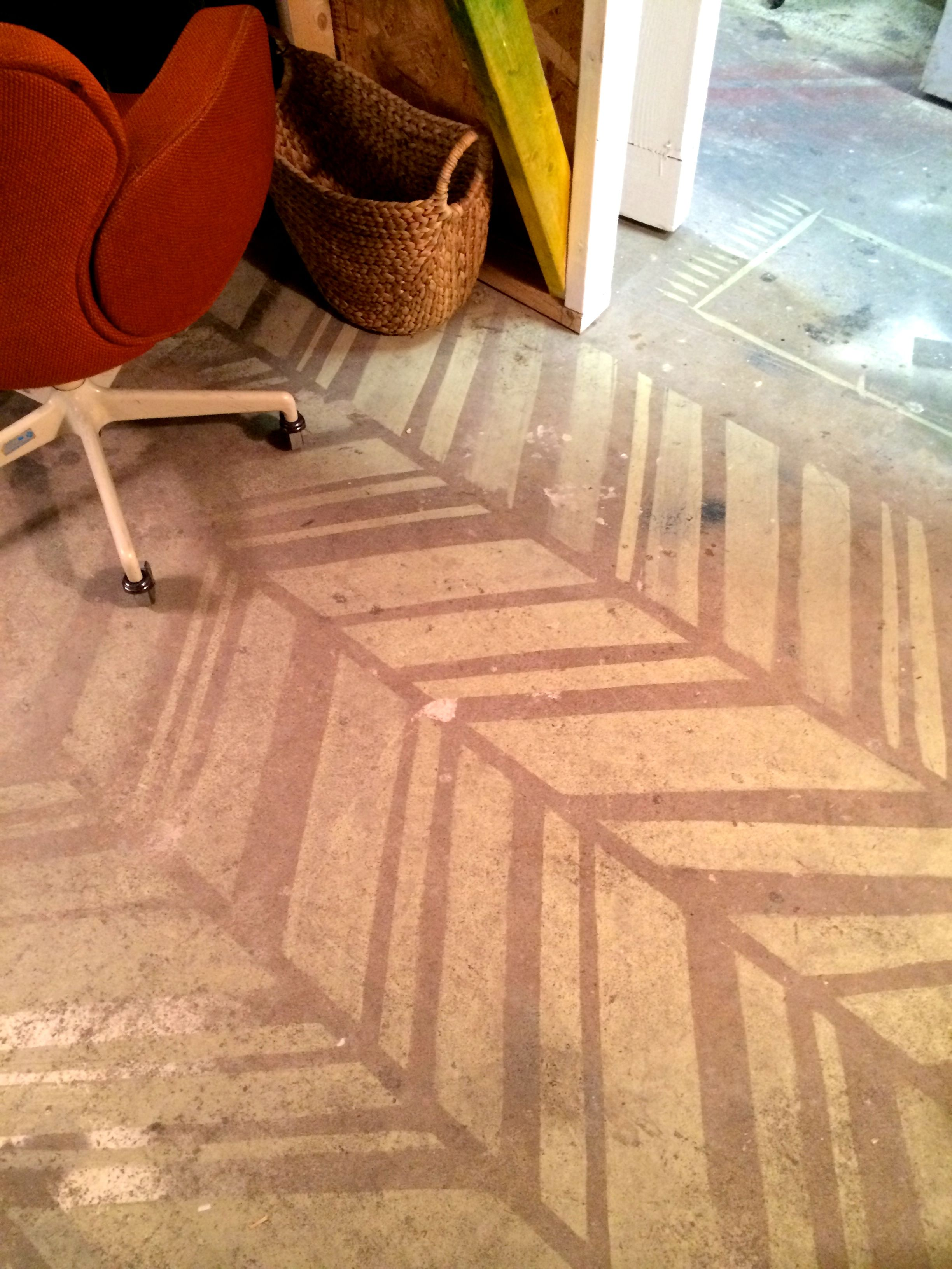 Distressed Painted Concrete By Christy Baker With Pigment Painted Floors Painted Floor Contemporary Rug