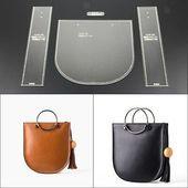 Photo of Details von 4Pcs-Acryl Clear-Template-Schablonenset Leder Quadratische Umhängetasche Mus …