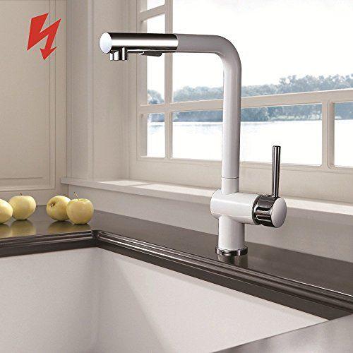 Homelody®360° mit Ausziehbar Brause Wasserhahn, Weiss Nie