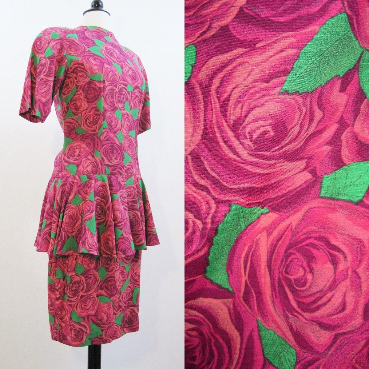80s Dress Vintage Nicole Miller Roses Floral Pink Peplum Day Dress S ...