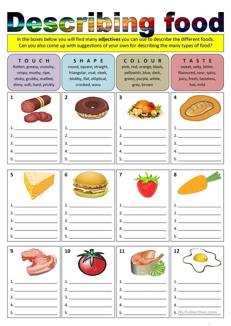 Describing food (adjectives) worksheet Free ESL
