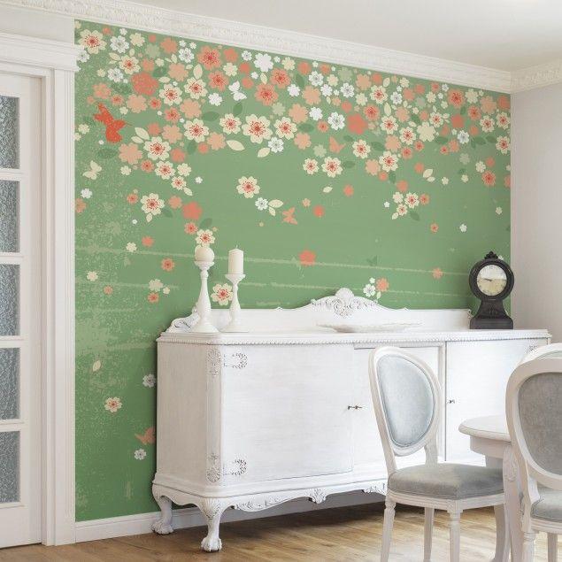 Mustertapete Blumen - Landhausstil - No.EK236 Spring Background ...