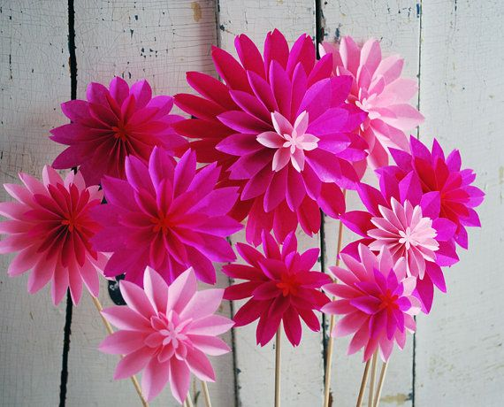 hot pink paper flowers, pink dahlia mix, 10 spring flowers, first