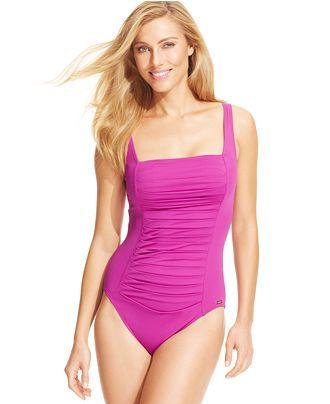 fc42f3dfc76c6 Calvin Klein Ruched-Panel One-Piece Swimsuit - Swimwear - Women - Macy s