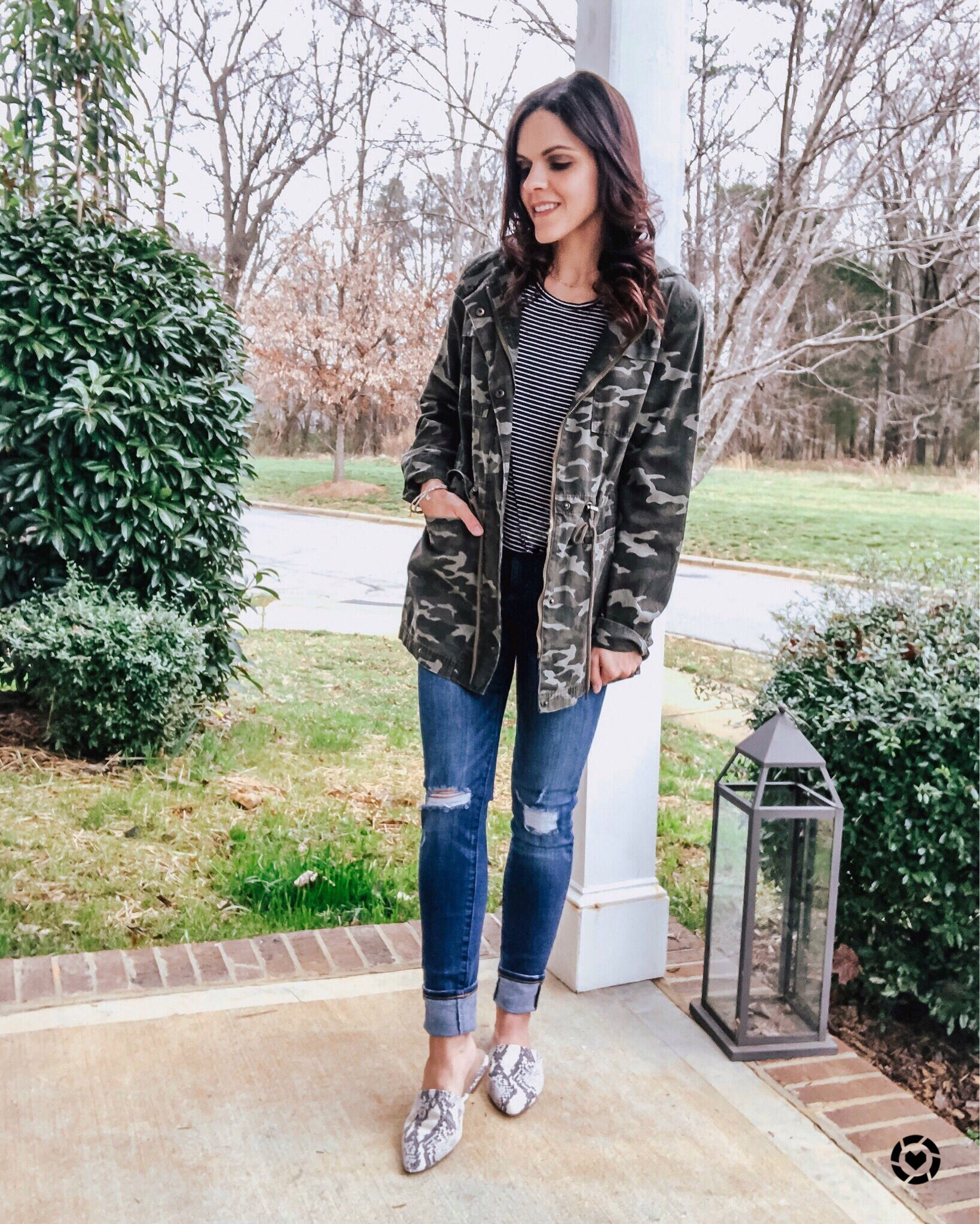 a034c03f1 Sarah Hancock on Instagram: Winter Fashion Inspiration   Cold weather style    camo   utility   layering   mules   snakeskin