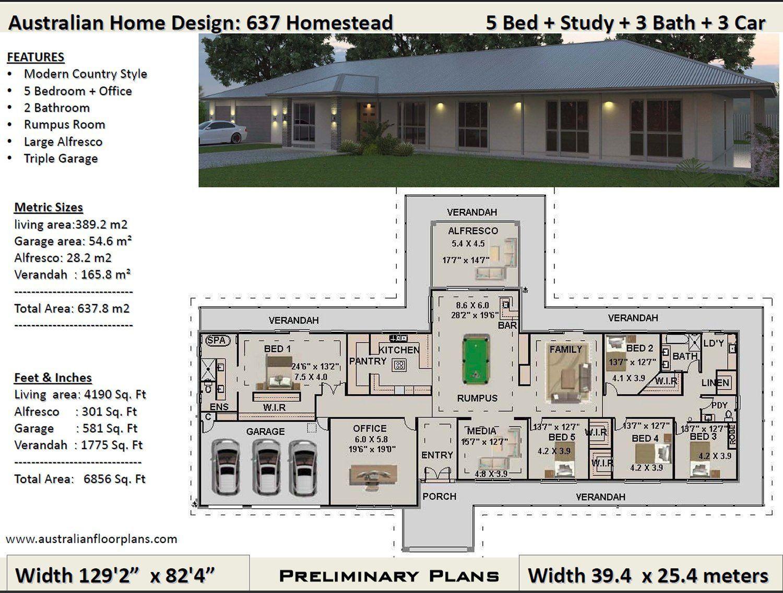 5 Bedrooms House Plans Australia 637m2 6856 Sq Ft 5 Bedrooms Country Style Home Plans House Plans Australia House Plans For Sale Home Design Floor Plans
