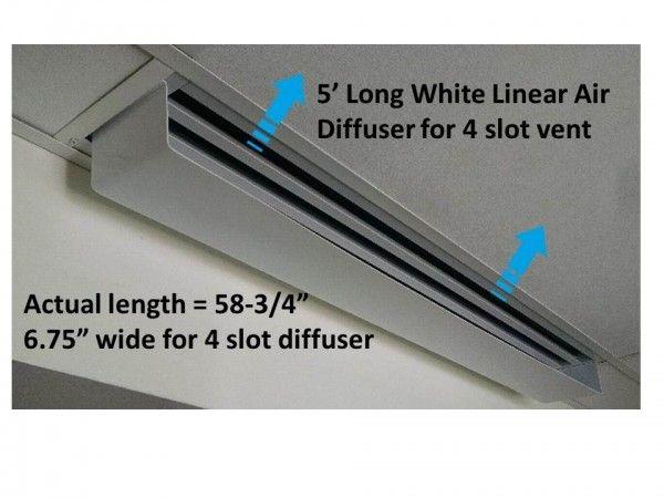 White Linear Diverter 60 X 6 75 For 5 Long 4 Slot Diffuser