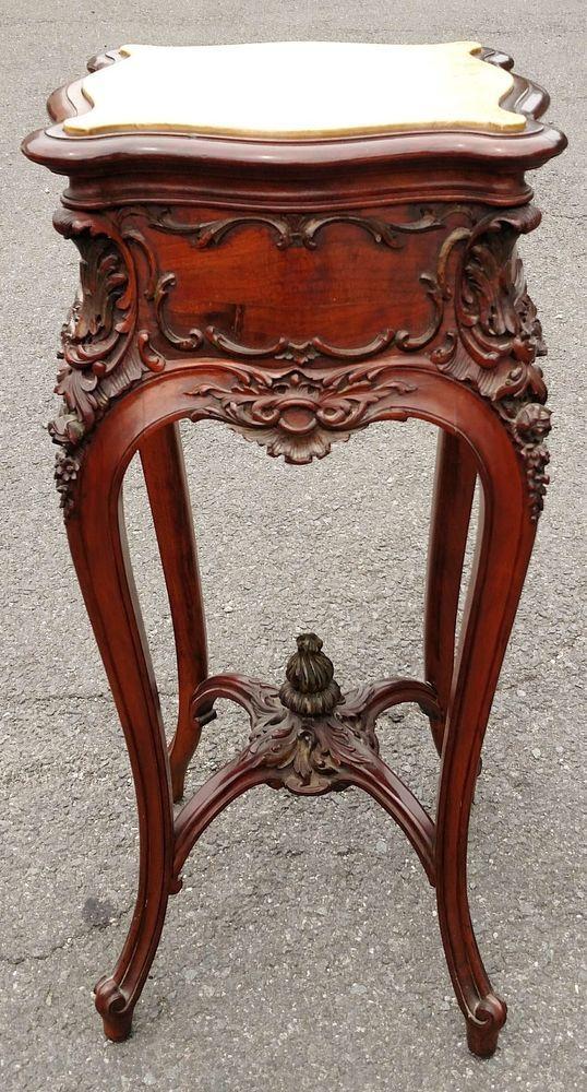 Antique 19th C French American Carved Walnut Tabouret Stand Pedestal Table Ebay Com Mobilya Antika Dekorasyon
