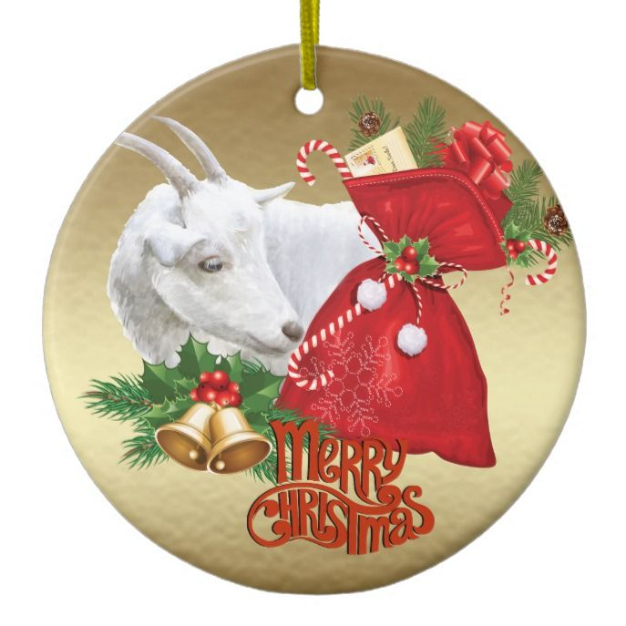 saanen christmas goat with holiday spirit ceramic ornament
