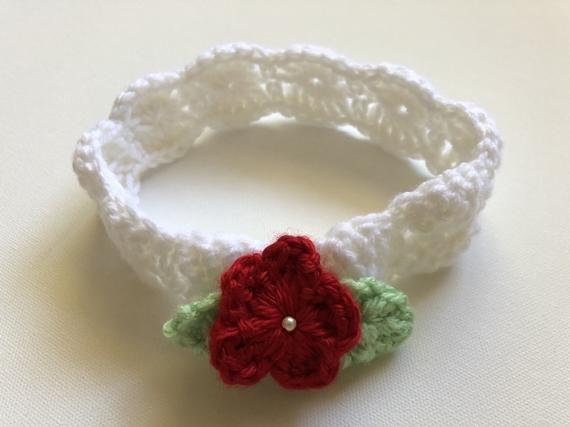 Baby Crochet White Headband Red Flower Crochet Headband White Crochet  Headband Fancy Crochet Baby He 968a924237c