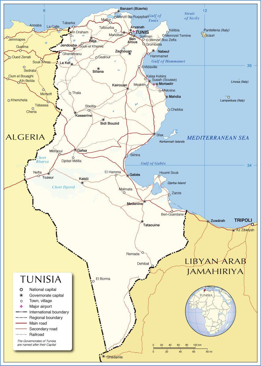 Political Map of Tunisia, Sousse | Tunisia | Pinterest | Map ...