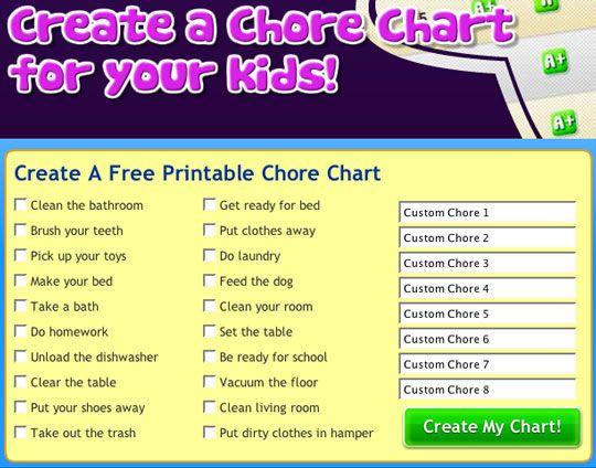 kids chore chart templates