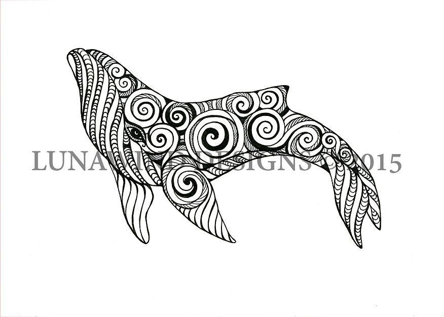 Whale Fish Blue Ocean Scuba Sea Tattoo Idea Baby Nursery Art Lunawind Adult Coloring Book