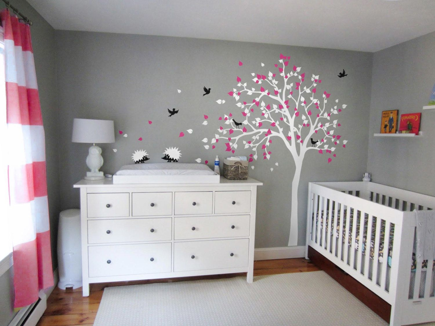white tree wall decal modern baby nursery decor children 39 s room mural decoration hedgehogs. Black Bedroom Furniture Sets. Home Design Ideas