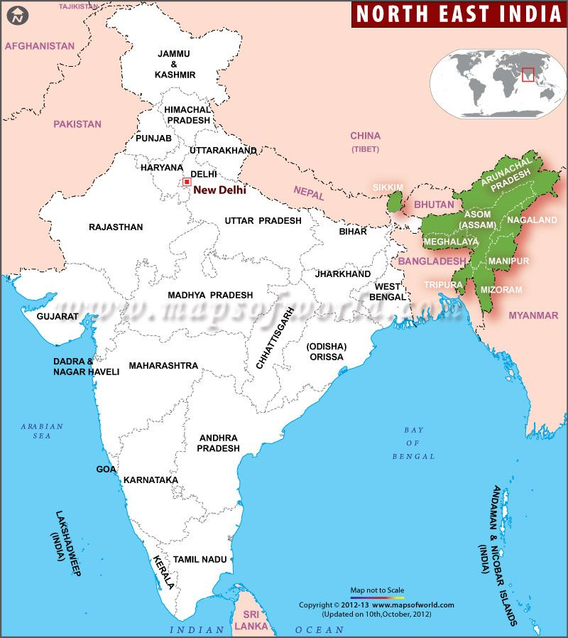 Map Showing The Northeast India States Sikim Meghalaya Assam