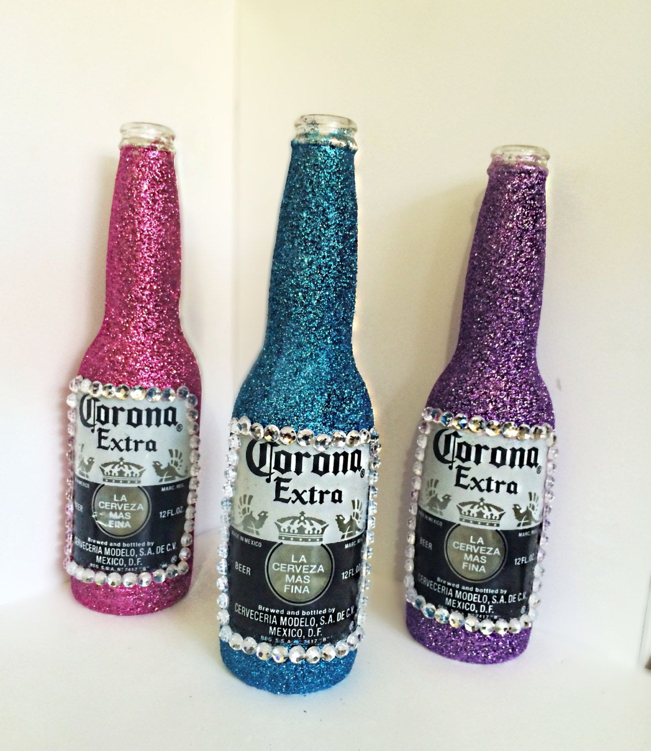 home decor gifts home design ideas set of 3 embellished corona bottles home decor glitter rhinestones gift