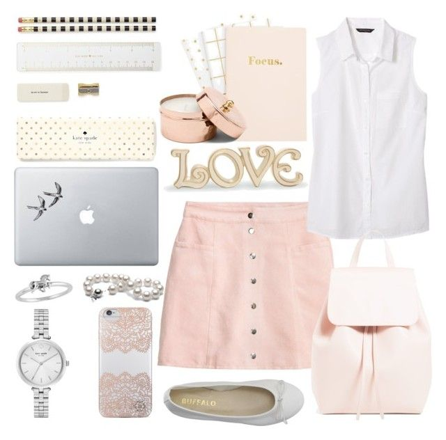 """""""Back to school 📑✏"""" by selena-styles-ibtissem23 ❤ liked on Polyvore featuring DIENNEG, H&M, Banana Republic, Nanette Lepore, Vinyl Revolution, Kate Spade and Lenox"""