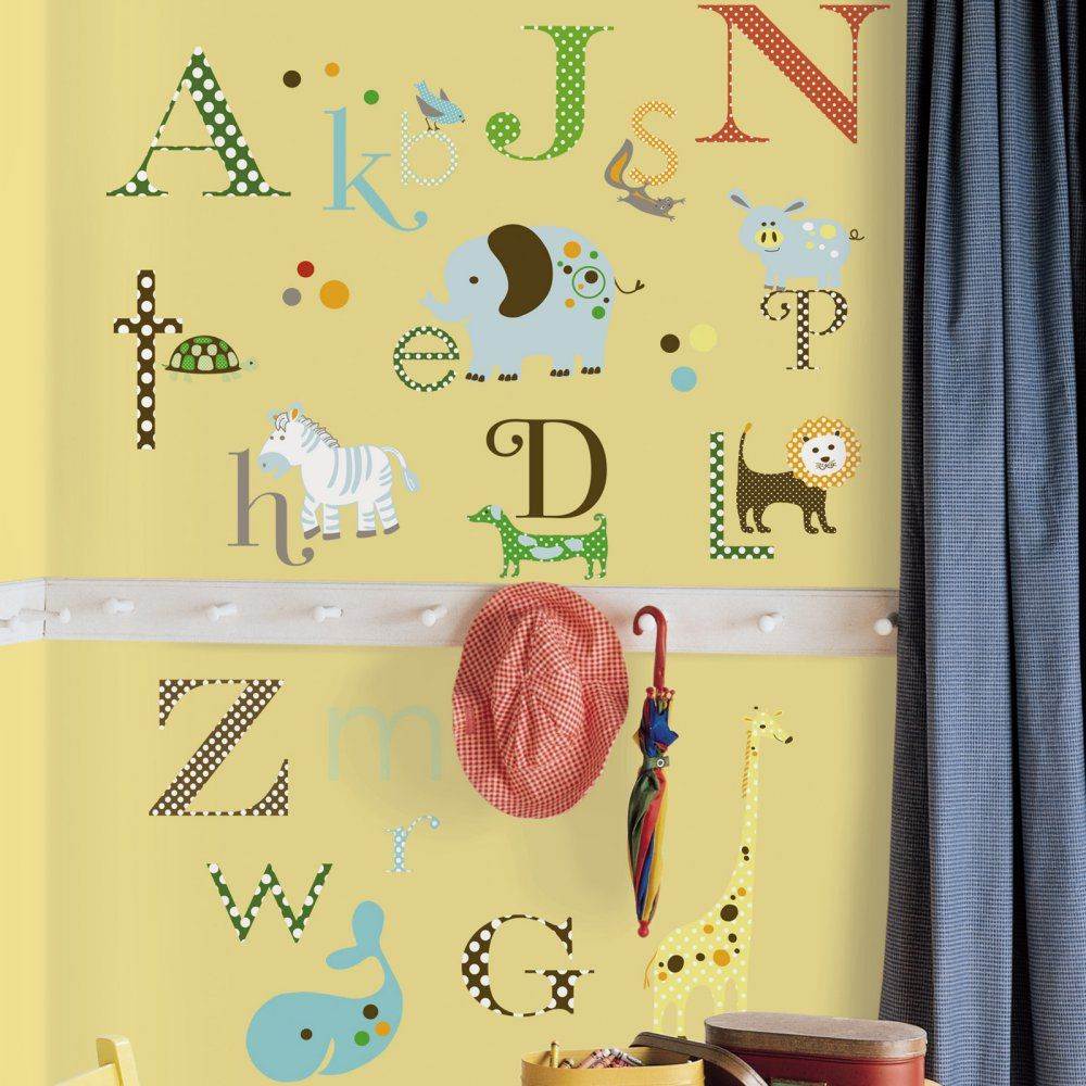 Animal Alphabet Peel and Stick Wall Decals - Wall Decals at ...