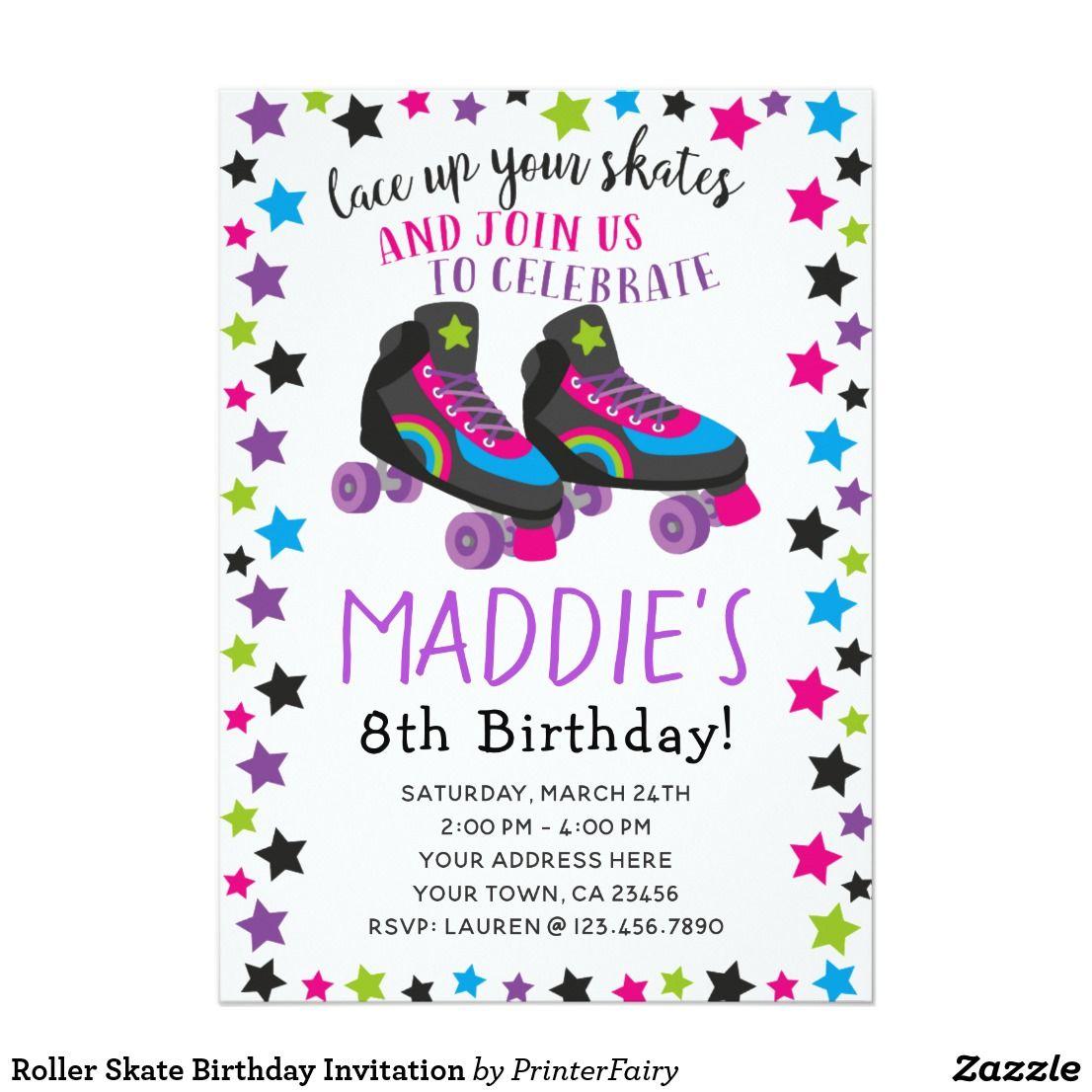 Roller Skate Birthday Invitation | Birthday ideas | Pinterest ...