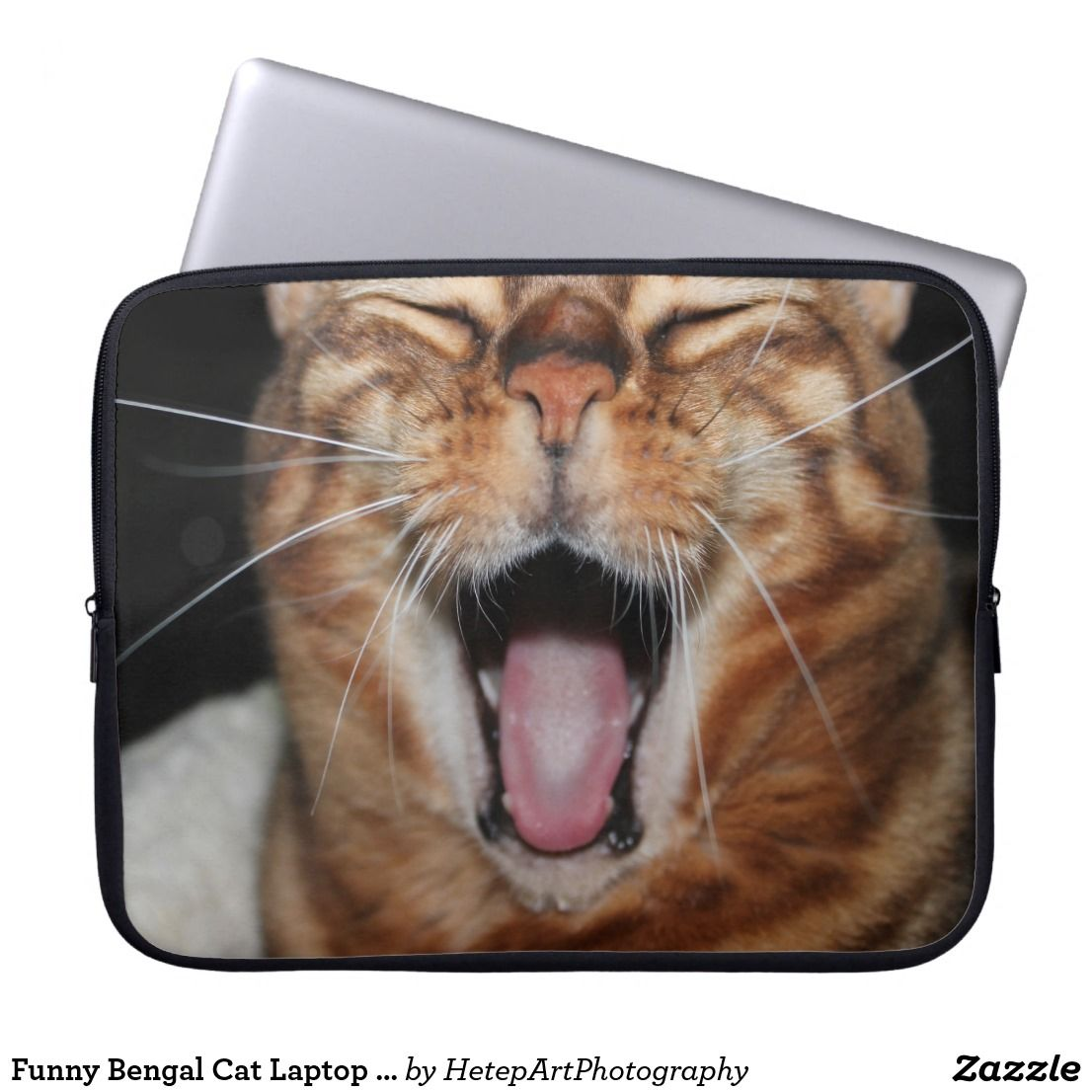 Funny Bengal Cat Laptop Sleeve, Add Your Own Meme Laptop