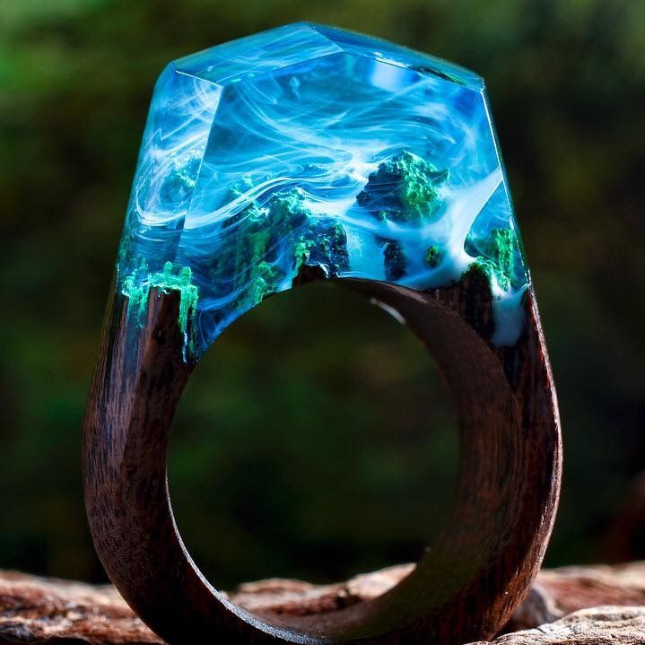 blue ring Mystic volcano ring resin jewelry resin rings ring for women unique ring handmade jewelry gift for her gift for mom