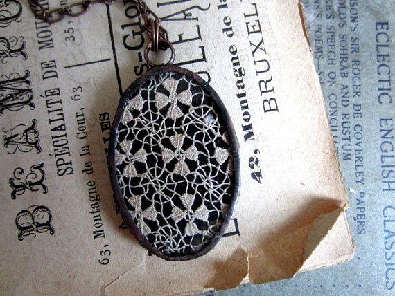 Victorian Lace Fiber Art Necklace  $40.00