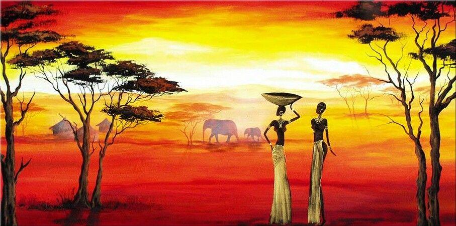 Paisaje Africano Atardecer Pinturas Africanas Cuadros Etnicos Pinturas