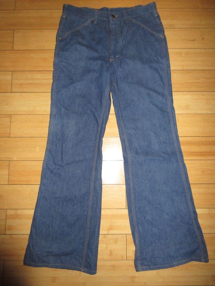 c436a4f1 1970's Vintage LEE Denim Bell Bottom Jeans Men's Size 34 x 32 Disco Talon  42 zip #Lee