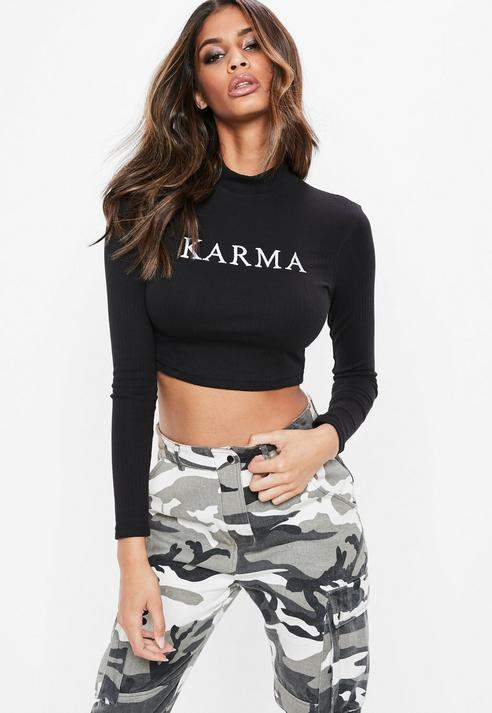 17003879addd Missguided Black Karma Graphic High Neck Long Sleeve Top | Products ...