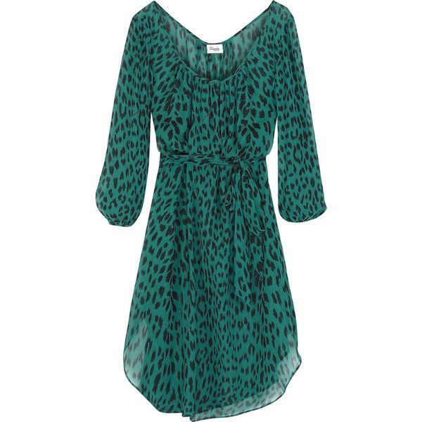 Temperley London Kayla leopard-print silk tunic ($224) ❤ liked on Polyvore featuring tops, tunics, dresses, vestidos, green, swimwear, silk top, green top, silk tunic and bell sleeve tunic