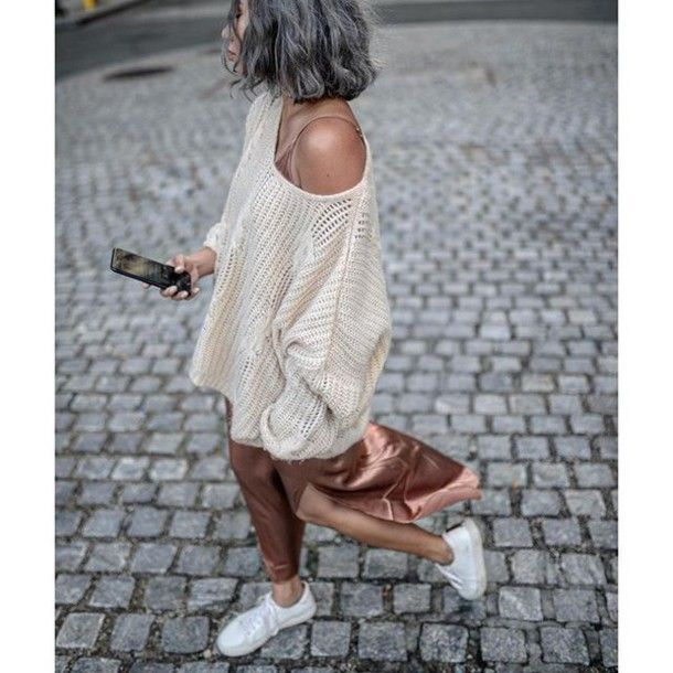 Sweater: tumblr white dress maxi dress slip dress slit dress sneakers low top sneakers white