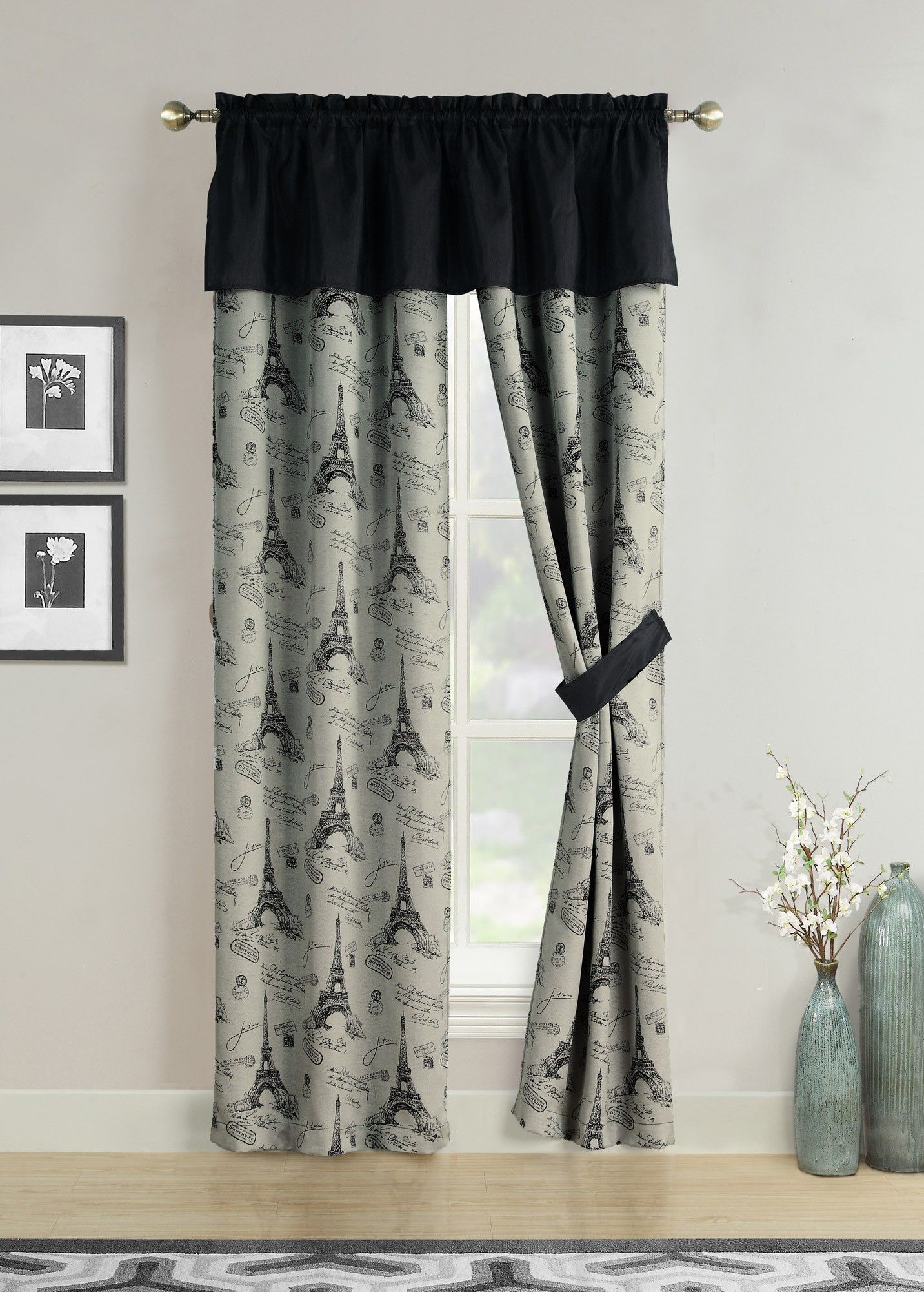 Aubrie Home Accents C Est La Vie Window Curtains Black Gray Paris Valance Panel Pair Drapes 84 Black Curtains Custom Drapes Curtains