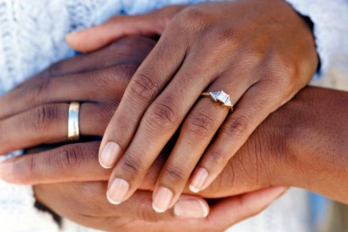 Hands Of Married Couple Wearing Wedding Rings Engagement Ring On