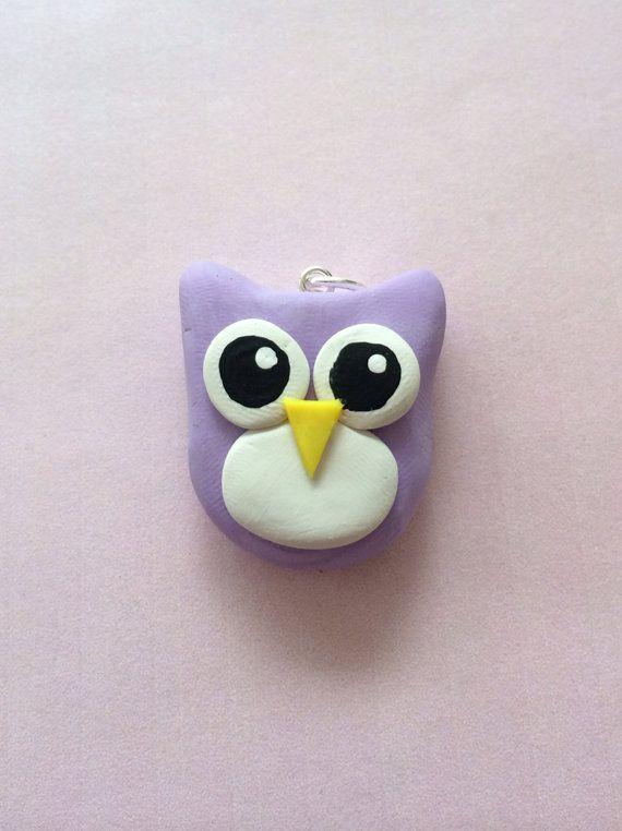Polymer clay owl charm polymer clay charm by KawaiiCreationz, $6.00