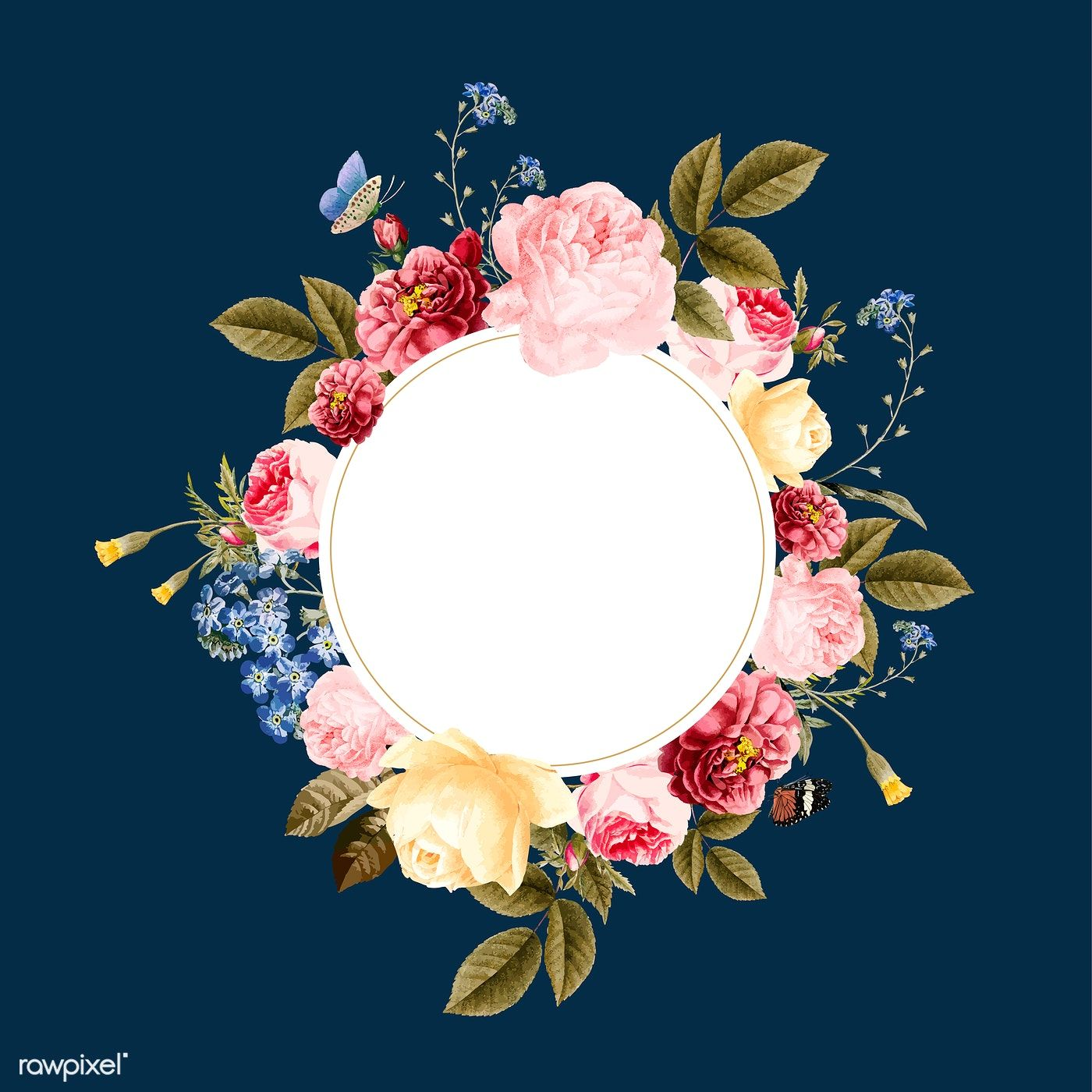Download Premium Vector Of Blank Floral Frame Card Illustration