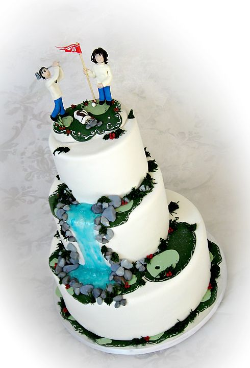 Golf Wedding Cake Toppers | Golf Themed Wedding Cake with Waterfall ...