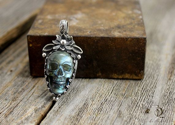 Petite Kill Joy // All Hollows Eve // Labradorite Sugar Skull Sterling Metalsmith necklace with welded by BellaLili
