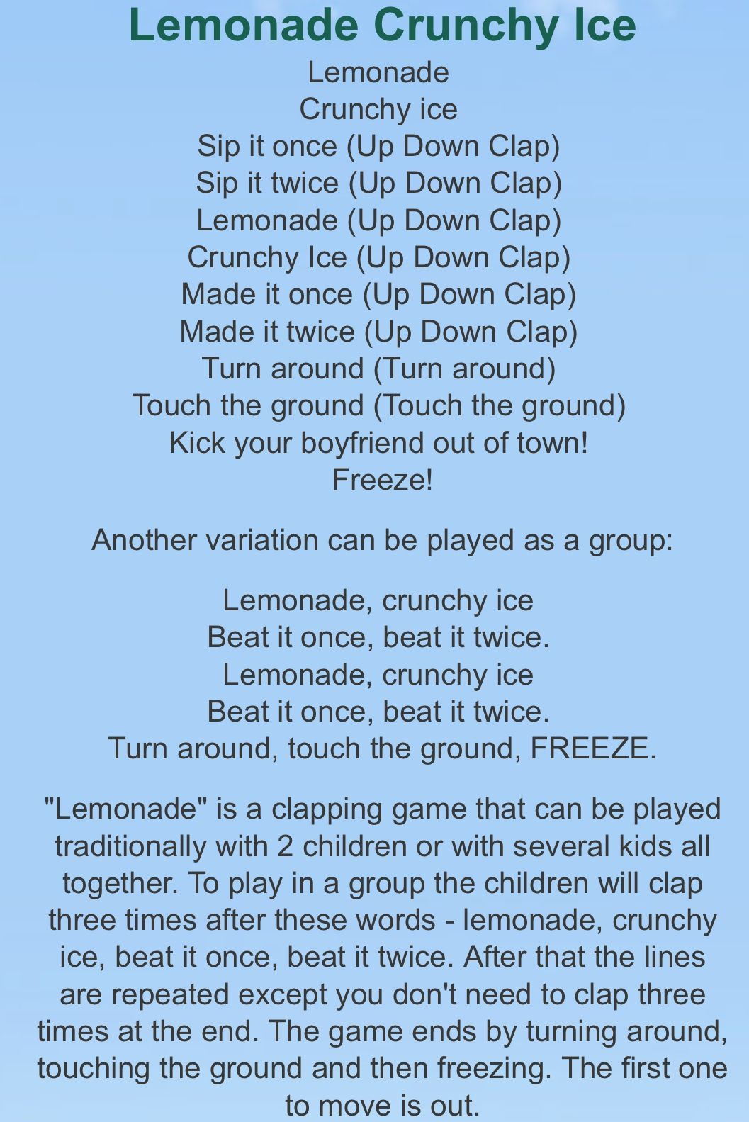 Lemonade Crunchy Ice Hand Clapping Game Clapping Games Hand Clapping Games Songs For Toddlers That i can make your hands clap that i can make your hands clap (turn it up) that i can make your hands clap. lemonade crunchy ice hand clapping game