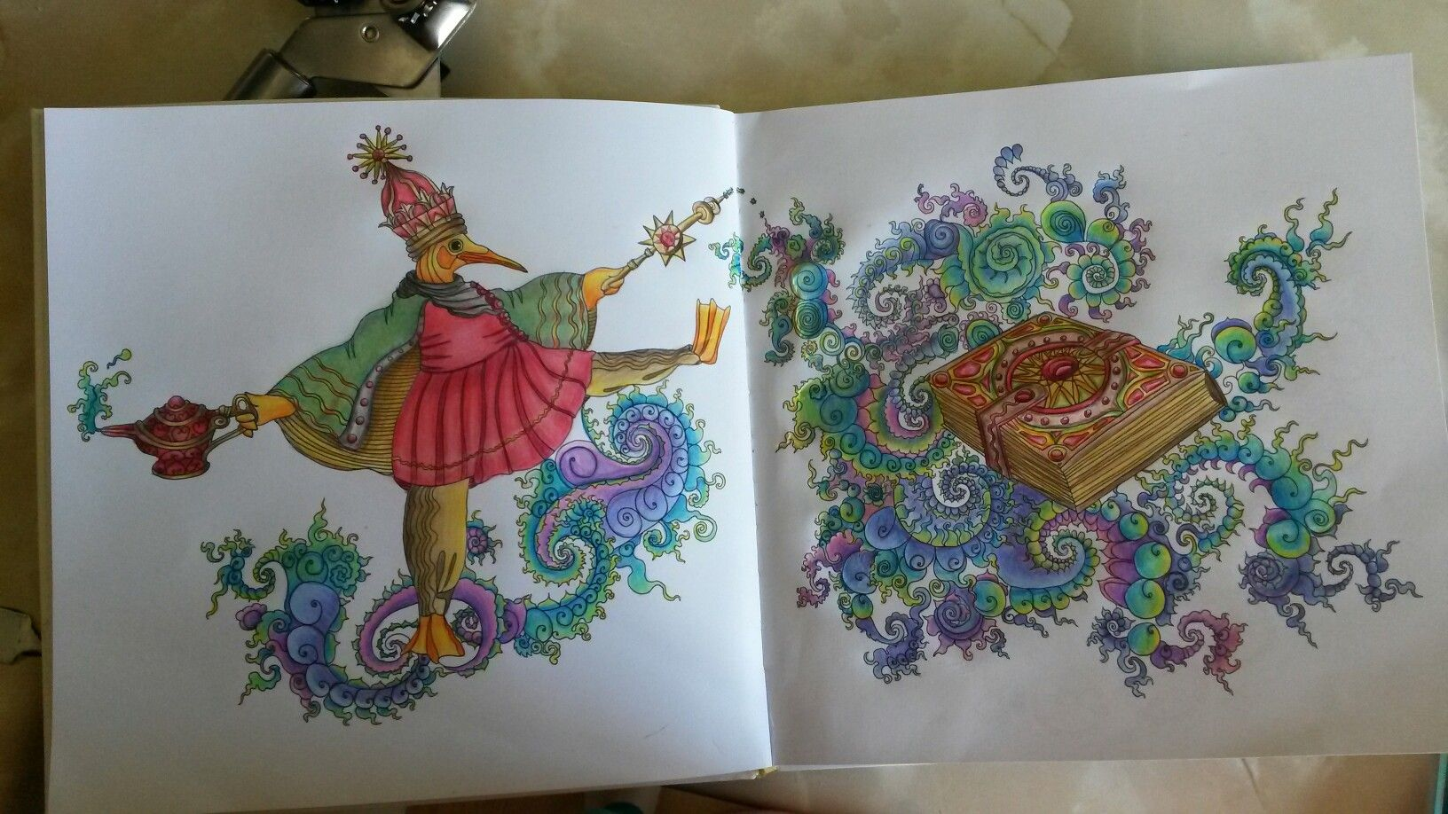 Tangle magic by Jessica Palmer, coloured using wh smith pencils