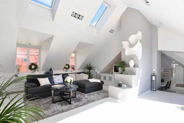 moderne Dachwohnung Ideen Ecksofa Design | Dachschräge 2 OG ...