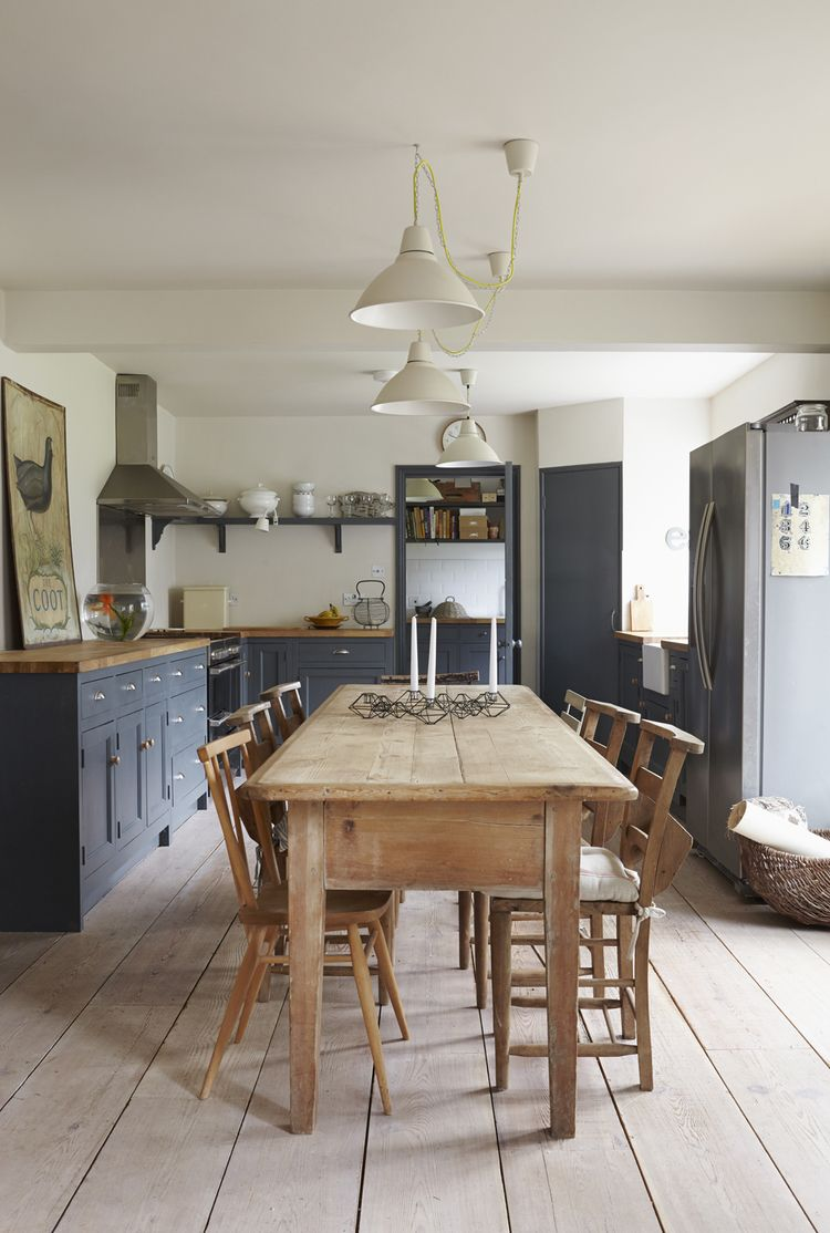 Period Living  Gray Kitchens Wooden Tables And Pendant Lighting Fascinating Period Kitchen Design Design Inspiration