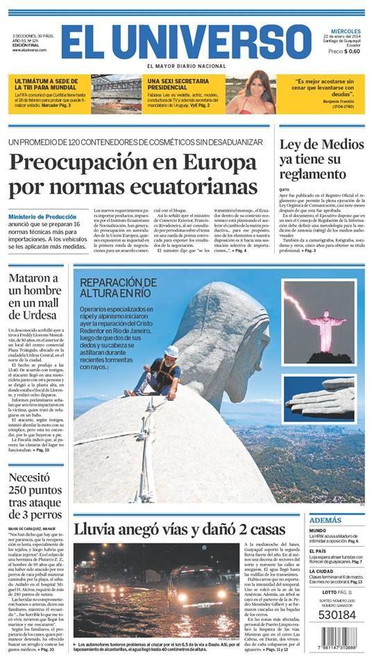 Portada de #DiarioELUNIVERSO de este miércoles 22 de enero del 2014. Las #noticias de #Ecuador y el mundo en: www.eluniverso.com