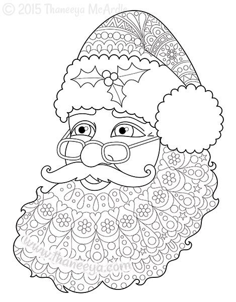 Santa Claus Christmas Coloring Page by Thaneeya | Art pieces ...