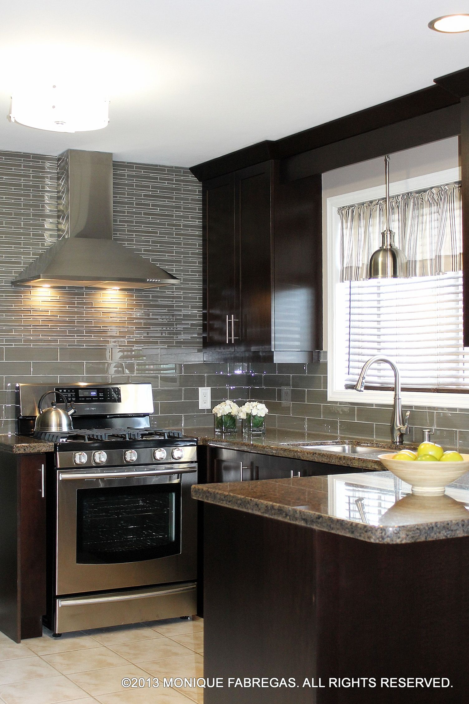 Delicious chocolate-stained maple cabinets topped with ... on Backsplash For Maple Cabinets And Black Granite  id=19838